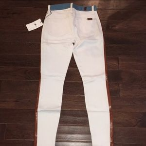 High rise white Jeans with side leather panels NWT